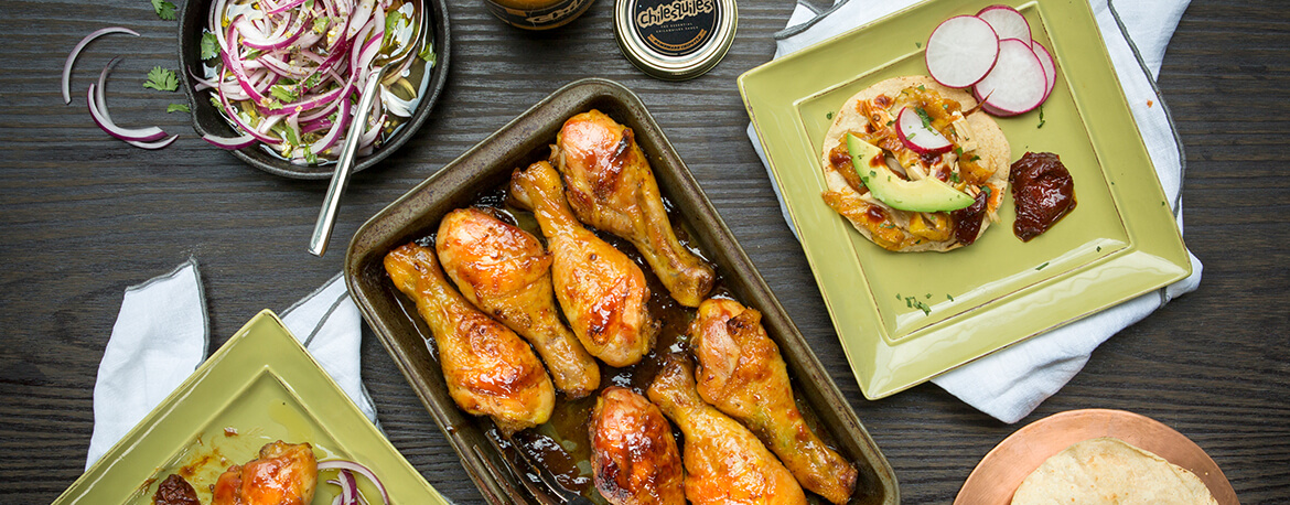 ROASTED CHICKEN GLAZED WITH HOMEMADE CHIPOTLE SAUCE