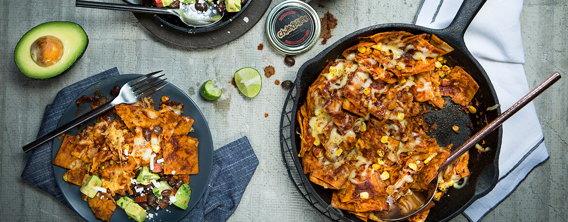 RED CHILAQUILES WITH CORN (ON THE COB) GRATIN